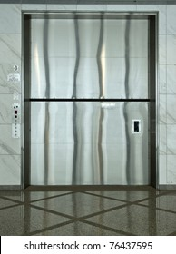 A giant cargo elevator in a modern building