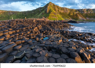 Giant Causeway in Northern Ireland with strange cliff formations