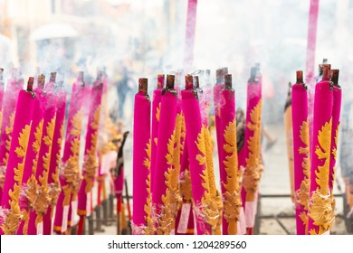 Giant Chinese incense stick used for new year celebration in Penang island, Malaysia