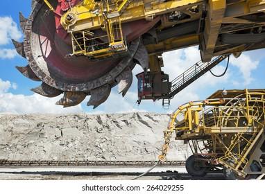 Giant coal loader in open-cast mine