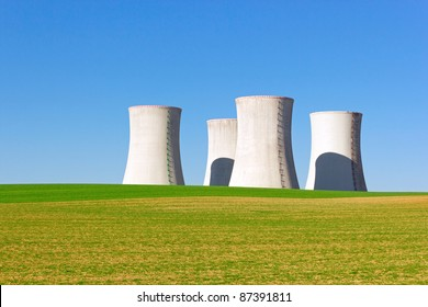 giant cooling towers of nuclear power plant