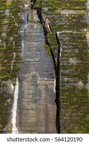 Giant cracks in the concrete wall of the huge bunker of Wolf's Lair complex in Poland