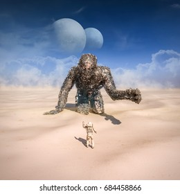 Giant in the desert / 3D illustration of astronaut finding giant robot in sandy desert on alien planet with twin moons