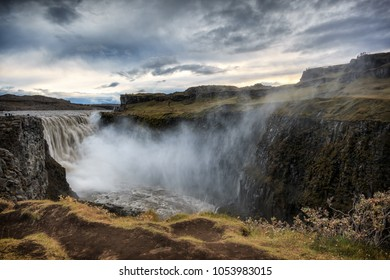 Giant Dettifoss in Vatnajokull N.P. in northeast Iceland. The most powerful waterfall in Europe.