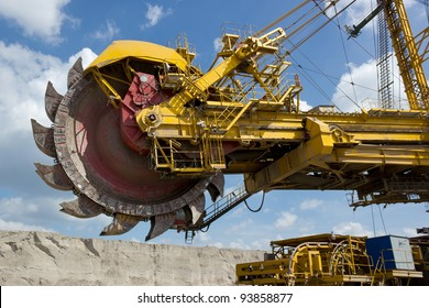 Giant excavator in open-cast coal mine