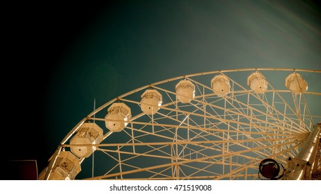 Giant ferry wheel at - famous amusement park in Minehead, UK