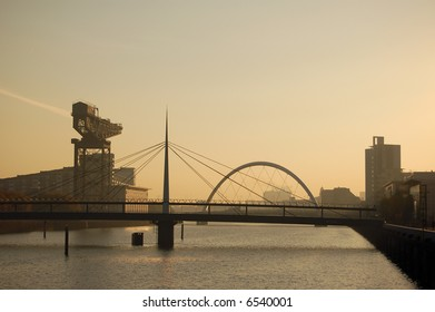 The giant Finniston crane and the bridges over the River Clyde, Glasgow