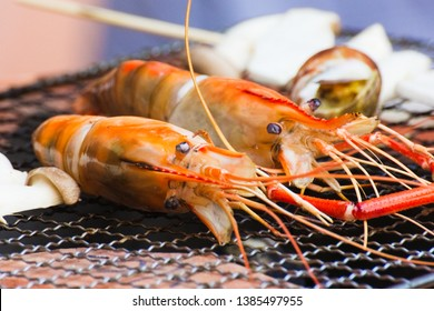 Giant Freshwater Prawn is Grill Seafood