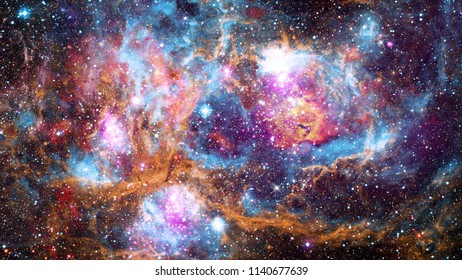 Giant glowing nebula. Space background with red nebula and stars. Elements of this image furnished by NASA.