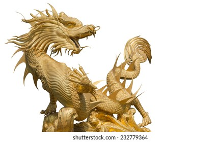 Giant golden Chinese dragon (clipping part for easy use)