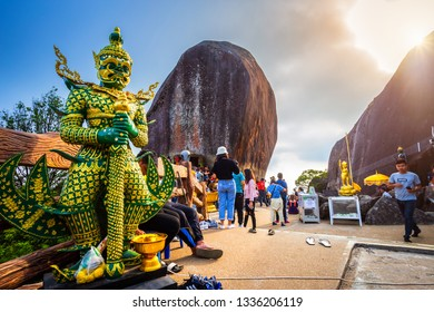 Giant guardian statue beautiful On the way up at The stone with the footprint of Lord Buddha at Khitchakut mountain It is a major tourist attraction Chanthaburi, Thailand.February 16, 2019