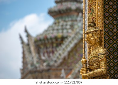 Giant guardian statue in Wat Phra Kaew Grand Palace Bangkok Thailand