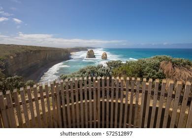 Giant limestone stacks, Gog and Magog. Gibson Steps, Great Ocean Road, Victoria, Australia