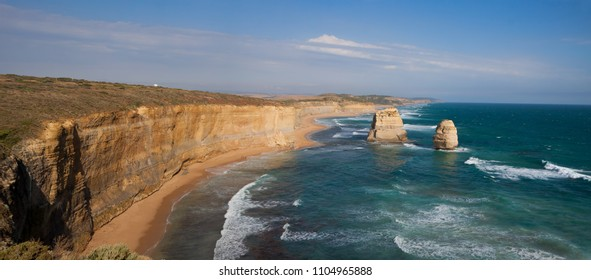 Giant limestone stacks named Gog and Magog located at the Gibson Steps, Great Ocean Road, Victoria, Australia
