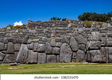 Giant Limestone Walls of the Inca Complex Known as Sacsayhuaman Near Cusco, Peru