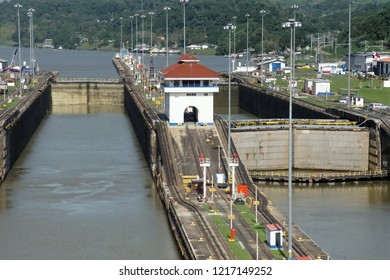 Giant locks allow huge ships to pass through the Panama Canal