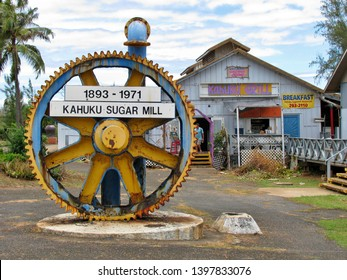 A giant machine cog on display at the decommissioned Kahuku sugar mill plantation on the island of Oahu Hawaii