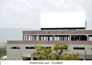 Giant marketing billboard on a rooftop