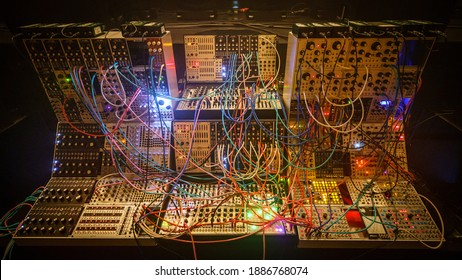 Giant modular synthesizer awaiting a performance in the large concert hall of the city of Utrecht.
