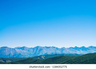 Giant mountains and glaciers above hills with forest. Snowy ridge under blue clear sky. Snow summit in highlands. Permafrost, permanent cold. Amazing atmospheric minimalist mountain landscape.