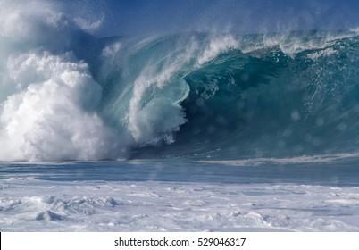 Giant Ocean wave on the north shore of Oahu Hawaii USA Waimea bay
