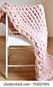 Giant Pink Plaid Woolen Knitted on White Wooden Stool Chair Home