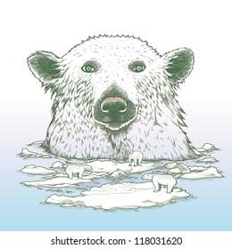 Giant polar bear of arctic