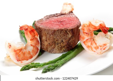 """Giant prawns with tenderloin steak and asparagus, a very basic """"surf and turf"""" meal"""