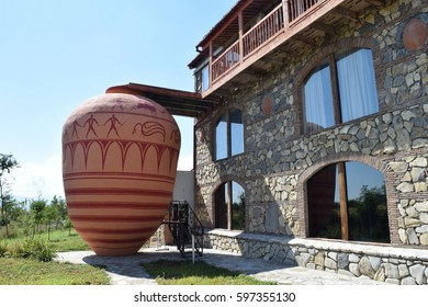 Giant qvevri wine amphora in Kakheti, Georgia