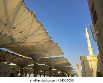 The Giant Retractable Tent At Prophet Muhammad Mosque In Medina.