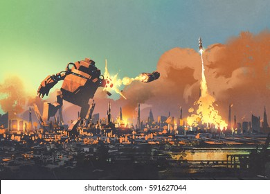 the giant robot launching rocket punch destroy the city,illustration painting