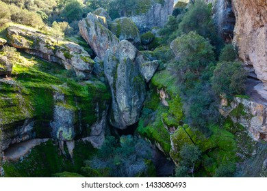 Giant Rock Formations in Pinnacles National Park alongside trail