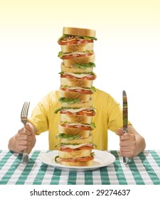 Giant sandwich on a white plate, with hands holding a a knife and fork on a table cloth.