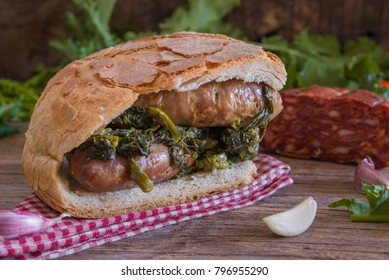 Giant sandwich with salsicce e friarielli - sausages and broccoli - neapolitan food