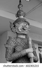 Giant sculpture in Thai model style. Black and white. Thai art.
