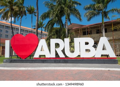 Giant signal of tourist promotion in one of the places most visited by foreign tourists in the city Oranjestad. Oranjestad. Aruba February 23, 2019