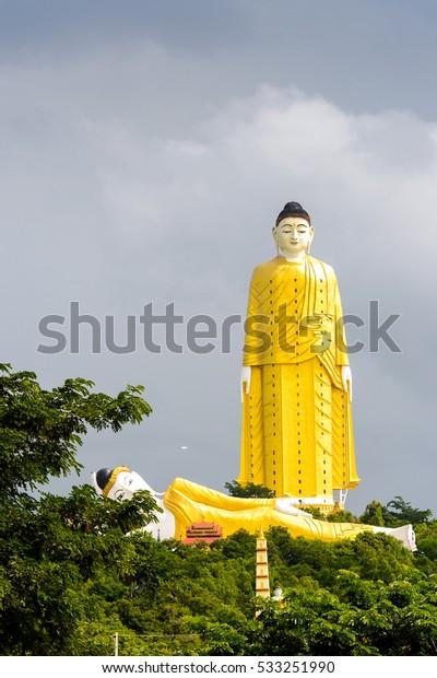 Giant standing Buddha at the Maha Bodhi Ta Htaung, a famous Buddhist region and monastery, Monywa Township, Sagaing Area, Myanmar (Burma)