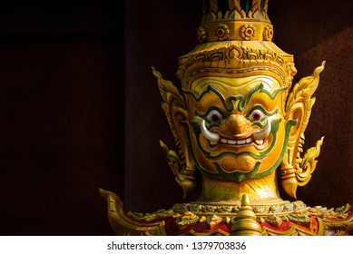 Giant statue, character in Thai fairy tale for public temple decoration on dark background with clipping path