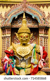 the giant statue Inside the temple of thailand