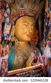 Giant statue of Maitreya Buddha inside the Thiksey Monastery in Ladakh, India