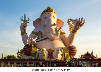 Giant statue of pink Ganesha, Thailand.