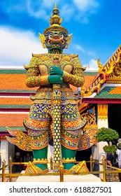 The Giant statue at Temple of the Emerald Buddha (Wat phra kaew), Grand palace, Bangkok, Thailand