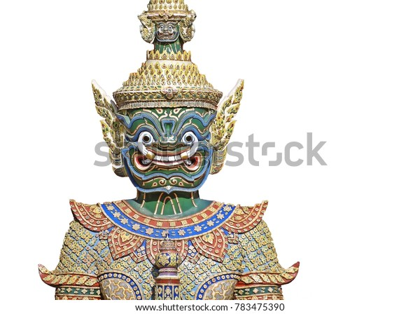 A giant statue in the Temple of the Emerald Buddha on a white background