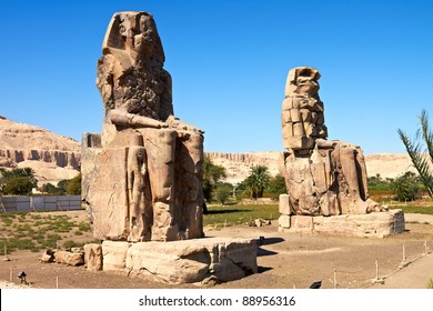 Giant statues near the Kings Valley, Luxor, Egypt