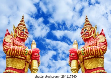 Giant statues on the sky background in thailand