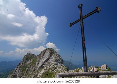 A giant steel cross on Mt Pilatus in the Swiss Alps