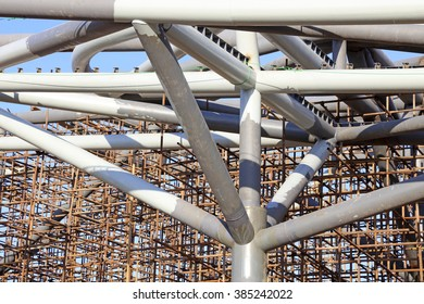 giant steel tube and the scaffold under the blue sky