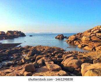 Giant stones on the beach of Perros Guirec, Cote de Granit Rose, Cotes-d Armor de Bretagne, France