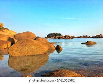 Giant stones of pink granite on the beach of Perros Guirec, Bretagne, France