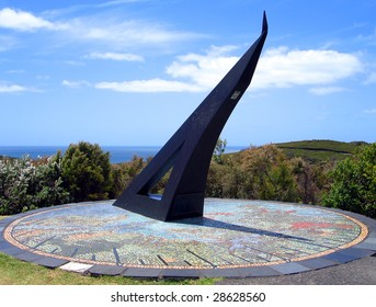 Giant Sundial above a Tiled Mosaic Map of the Bay of Islands, Flagstaff Hill in Russell, New Zealand